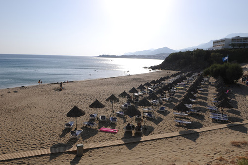 The two sandy beaches of Sunwing Hotel and Mikri Poli Hotel